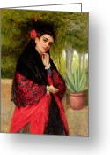 Half Length Greeting Cards - A Spanish Beauty Greeting Card by John-Bagnold Burgess