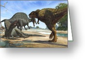 Cretaceous Greeting Cards - A Spinosaurus Blocks The Path Greeting Card by Sergey Krasovskiy