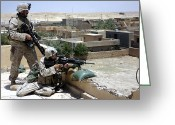 Iraq Greeting Cards - A Squad Leader Sights In A Potential Greeting Card by Stocktrek Images