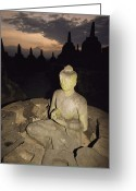 Borobudur Greeting Cards - A Statue Of Buddha,  Borobudur, Java Greeting Card by Paul Chesley