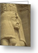 African Heritage Photo Greeting Cards - A Statue Of Nefertari At The Entrance Greeting Card by Richard Nowitz