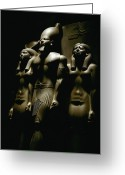 Peoples Greeting Cards - A Statue Of Pharoh Menkaura Greeting Card by Kenneth Garrett