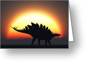 Stegosaurus Digital Art Greeting Cards - A Stegosaurus Silhouetted Greeting Card by Mark Stevenson