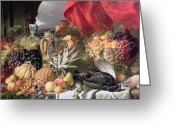 Melon Painting Greeting Cards - A Still Life of Game Birds and Numerous Fruits Greeting Card by William Duffield