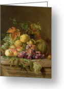 Pre-19thc Greeting Cards - A Still Life of Melons Grapes and Peaches on a Ledge Greeting Card by Jakob Bogdani