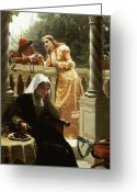 Edmund Blair (1853-1922) Greeting Cards - A Stolen Interview Greeting Card by Edmund Blair Leighton