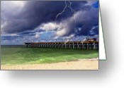 Lightening Storm Greeting Cards - A Storm Approaches Greeting Card by Gina Cormier