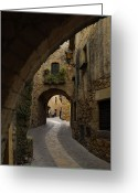 World Culture Greeting Cards - A Street In The Medieval Town Of Pals Greeting Card by Raul Touzon
