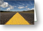 Yellow Line Greeting Cards - A Strip Of Asphalt Into Thin Air Greeting Card by Stefano Zuliani photo