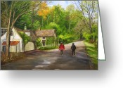 Carversville Greeting Cards - A Stroll Along Fleecydale Rd Greeting Card by Aurelia Nieves-Callwood