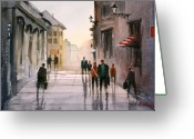 Europe Painting Greeting Cards - A Stroll in Italy Greeting Card by Ryan Radke