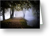 Mist Posters Greeting Cards Greeting Cards - A Stroll in the Clouds Greeting Card by Steve Buckenberger