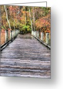 Gw Bridge Greeting Cards - A Stroll Through Autumn Greeting Card by JC Findley
