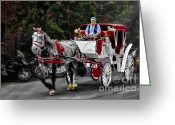 Digitally Enhanced Greeting Cards - A Stroll Thru The City Greeting Card by Susan Candelario
