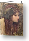 John William Waterhouse Greeting Cards - A Study for a Naiad Greeting Card by John William Waterhouse