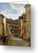 Gauguin; Paul (1848-1903) Greeting Cards - A Suburban Street Greeting Card by Paul Gauguin