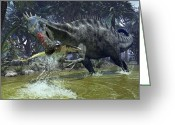 Natural History Greeting Cards - A Suchomimus Snags A Shark From A Lush Greeting Card by Walter Myers