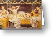 Harem Greeting Cards - A Summer Night Greeting Card by Albert Joseph Moore