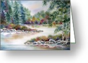 Deb Ronglien Watercolor Greeting Cards - A Summer Place Greeting Card by Deborah Ronglien