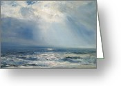 Shores Painting Greeting Cards - A Sunbeam over the Sea Greeting Card by Henry Moore