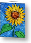 Cuban Painter Greeting Cards - A Sunflower Greeting Card by Juan Alcantara