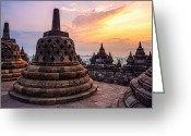 Borobudur Greeting Cards - A Sunrise At The Borobudur Temple Greeting Card by Thomas Müller www.rotweiss.tv