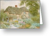 Path Greeting Cards - A Surrey Cottage Greeting Card by Arthur Claude Strachan
