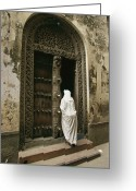 Ethnic And Tribal Peoples Greeting Cards - A Swahili Woman Enters A Building Greeting Card by Michael S. Lewis