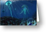 Sea Life Digital Art Greeting Cards - A Swarm Of Jellyfish Swim Greeting Card by Walter Myers