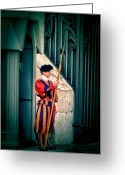 Solider Greeting Cards - A Swiss Guard Greeting Card by Tom Prendergast