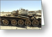 Battle Tanks Greeting Cards - A T-55 Tank Destroyed By Nato Forces Greeting Card by Andrew Chittock