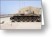 Russian Civil War Greeting Cards - A T-55 Tank On The Seafront Greeting Card by Andrew Chittock