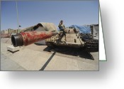 Battle Tanks Greeting Cards - A T-55 Tank With Two Children Playing Greeting Card by Andrew Chittock