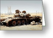 Battle Tanks Greeting Cards - A T-80 Tank Destroyed By Nato Forces Greeting Card by Andrew Chittock