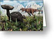 Dinosaurs Greeting Cards - A T. Rex Confronts An Ankylosaurus Greeting Card by Mark Stevenson