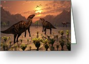 Dinosaurs Greeting Cards - A T. Rex Creeps Up On A Pair Greeting Card by Mark Stevenson