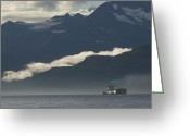 Tanker Greeting Cards - A Tanker Cruises Through Prince William Greeting Card by Michael S. Quinton