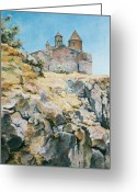 Realistic Greeting Cards - A temple on the rock Greeting Card by Tigran Ghulyan