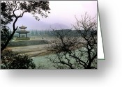 Group Projects Greeting Cards - A Temple Stands Beside Minjiang River Greeting Card by O. Louis Mazzatenta