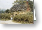 Gossiping Greeting Cards - A Thatched Cottage near Peaslake Surrey Greeting Card by Helen Allingham