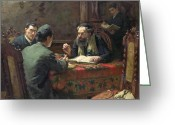 Rabbi Greeting Cards - A Theological Debate Greeting Card by Eduard Frankfort