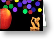 Food And Beverage Digital Art Greeting Cards - A thinker in starry night Greeting Card by Mingqi Ge