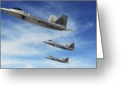 Raptor Photography Greeting Cards - A Three-ship Formation Of F-22 Raptors Greeting Card by Stocktrek Images