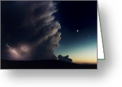 Midwestern States Greeting Cards - A Thunderstorm, Evening Star Greeting Card by Joel Sartore