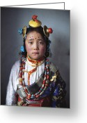 Hair Ornaments Greeting Cards - A Tibetan Girl Dressed In Traditional Greeting Card by Alison Wright