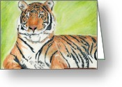 Mark Schutter Greeting Cards - A Tigers Rest Greeting Card by Mark Schutter