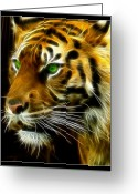 Tiger Tapestries Textiles Greeting Cards - A Tigers Stare Greeting Card by Ricky Barnard