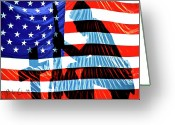 Usa Flag Greeting Cards - A Time To Remember Greeting Card by Bob Orsillo