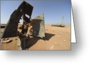 Nato Greeting Cards - A Tracked Artillery Vehicle Destroyed Greeting Card by Andrew Chittock
