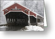 Wreaths Greeting Cards - A Traditional Covered Bridge On A Snowy Greeting Card by Tim Laman